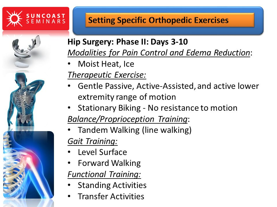 Hip Surgery: Phase II: Days 3-10 Modalities for Pain Control and Edema Reduction: Moist Heat, Ice Therapeutic Exercise: Gentle Passive, Active-Assiste