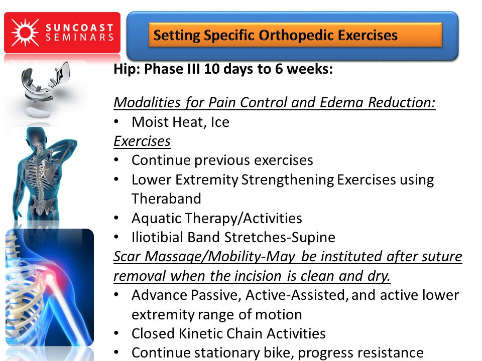 Hip: Phase III 10 days to 6 weeks: Modalities for Pain Control and Edema Reduction: Moist Heat, Ice Exercises Continue previous exercises Lower Extrem