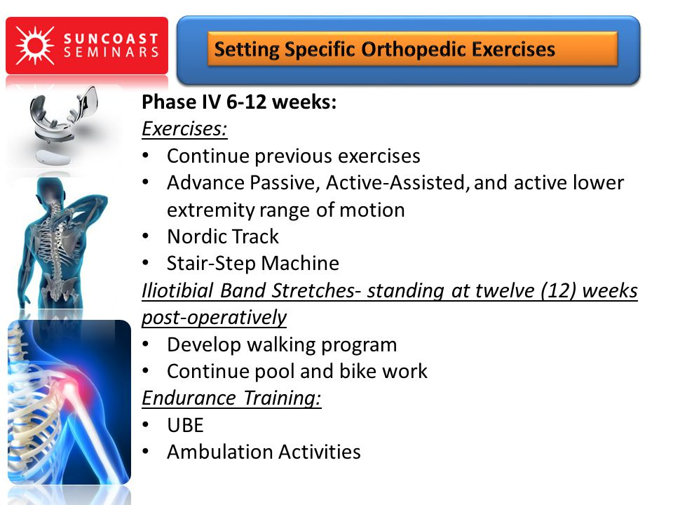 Phase IV 6-12 weeks: Exercises: Continue previous exercises Advance Passive, Active-Assisted, and active lower extremity range of motion Nordic Track