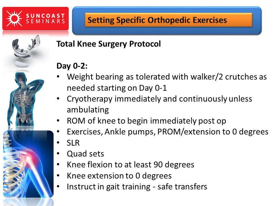 Total Knee Surgery Protocol Day 0-2: Weight bearing as tolerated with walker/2 crutches as needed starting on Day 0-1 Cryotherapy immediately and cont