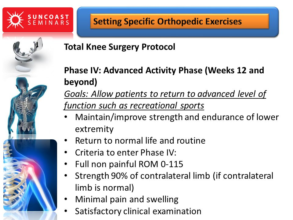 Total Knee Surgery Protocol Phase IV: Advanced Activity Phase (Weeks 12 and beyond) Goals: Allow patients to return to advanced level of function such
