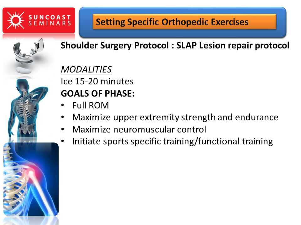 Shoulder Surgery Protocol : SLAP Lesion repair protocol MODALITIES Ice 15-20 minutes GOALS OF PHASE: Full ROM Maximize upper extremity strength and en