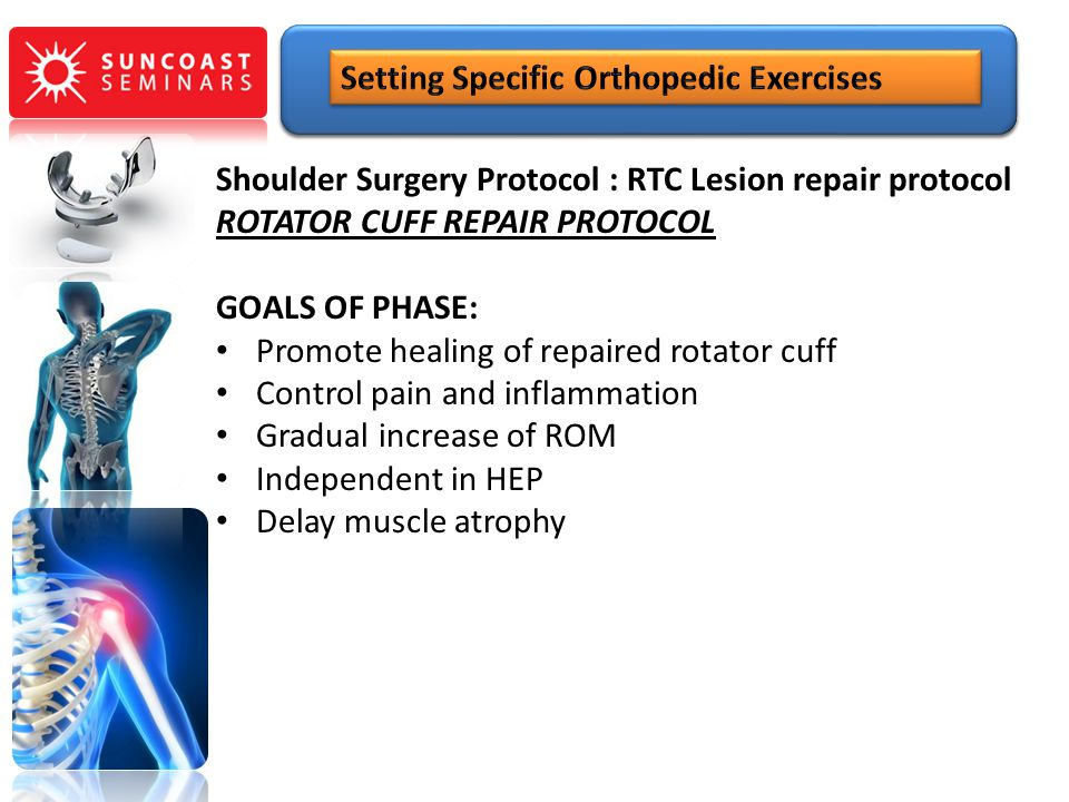 Shoulder Surgery Protocol : RTC Lesion repair protocol ROTATOR CUFF REPAIR PROTOCOL GOALS OF PHASE: Promote healing of repaired rotator cuff Control p