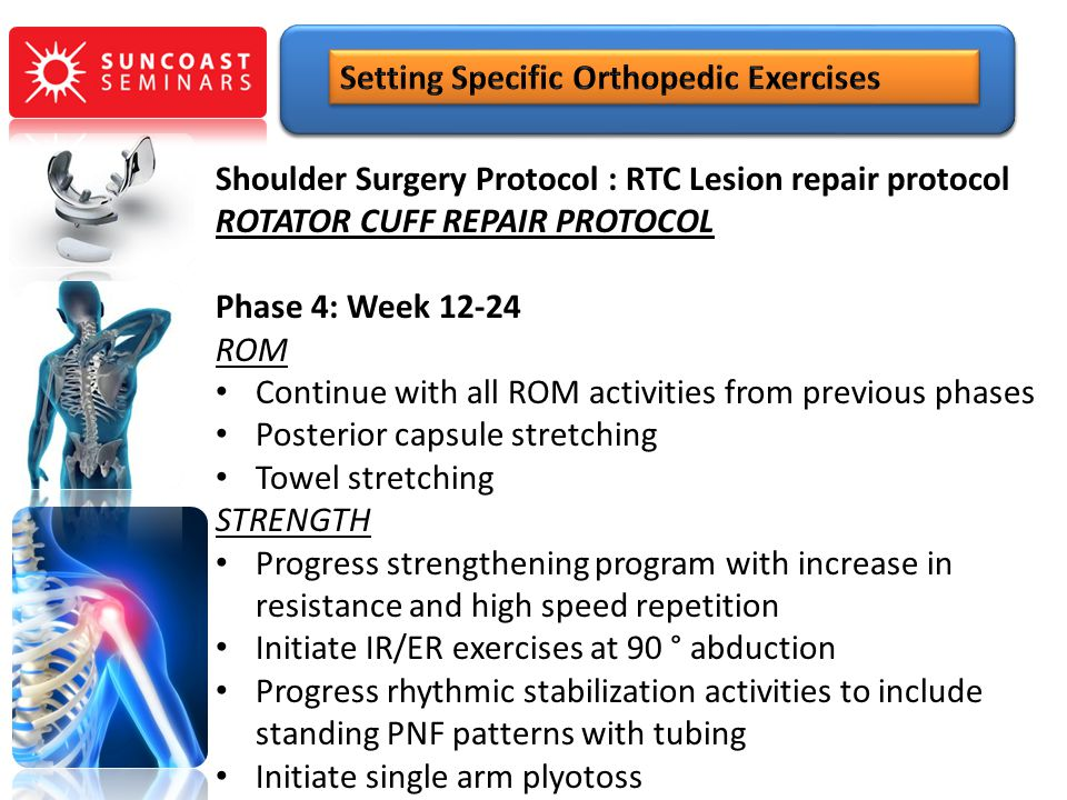 Shoulder Surgery Protocol : RTC Lesion repair protocol ROTATOR CUFF REPAIR PROTOCOL Phase 4: Week 12-24 ROM Continue with all ROM activities from prev