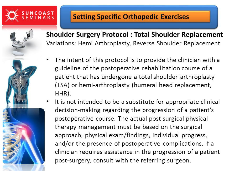 Variations: Hemi Arthroplasty, Reverse Shoulder Replacement The intent of this protocol is to provide the clinician with a guideline of the postoperat