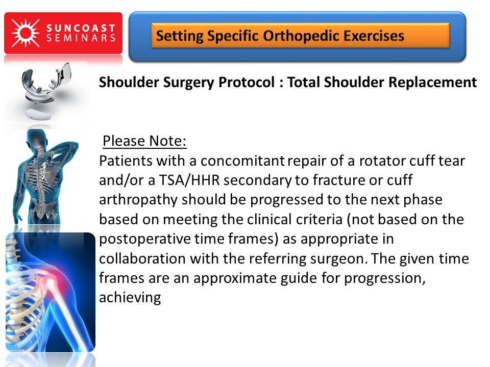 Shoulder Surgery Protocol : Total Shoulder Replacement Please Note: Patients with a concomitant repair of a rotator cuff tear and/or a TSA/HHR seconda