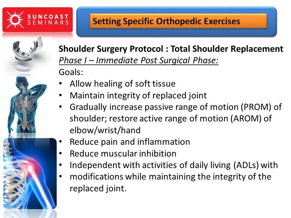 Shoulder Surgery Protocol : Total Shoulder Replacement Phase I – Immediate Post Surgical Phase: Goals: Allow healing of soft tissue Maintain integrity