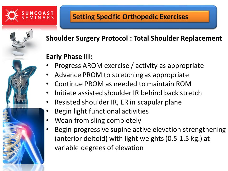 Shoulder Surgery Protocol : Total Shoulder Replacement Early Phase III: Progress AROM exercise / activity as appropriate Advance PROM to stretching as