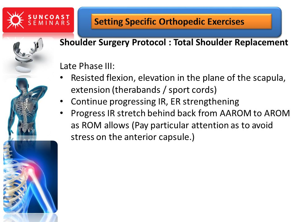 Shoulder Surgery Protocol : Total Shoulder Replacement Late Phase III: Resisted flexion, elevation in the plane of the scapula, extension (therabands