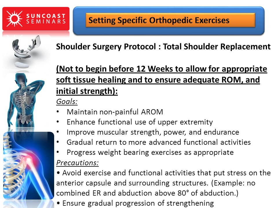 Shoulder Surgery Protocol : Total Shoulder Replacement (Not to begin before 12 Weeks to allow for appropriate soft tissue healing and to ensure adequa