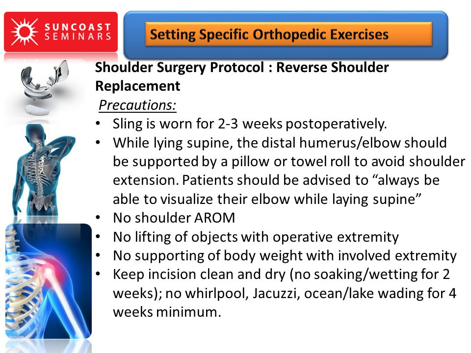 Shoulder Surgery Protocol : Reverse Shoulder Replacement Precautions: Sling is worn for 2-3 weeks postoperatively. While lying supine, the distal hume