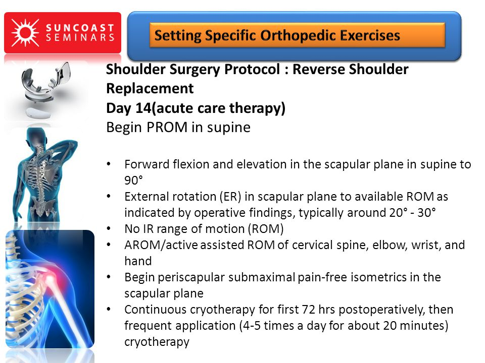 Shoulder Surgery Protocol : Reverse Shoulder Replacement Day 14(acute care therapy) Begin PROM in supine Forward flexion and elevation in the scapular
