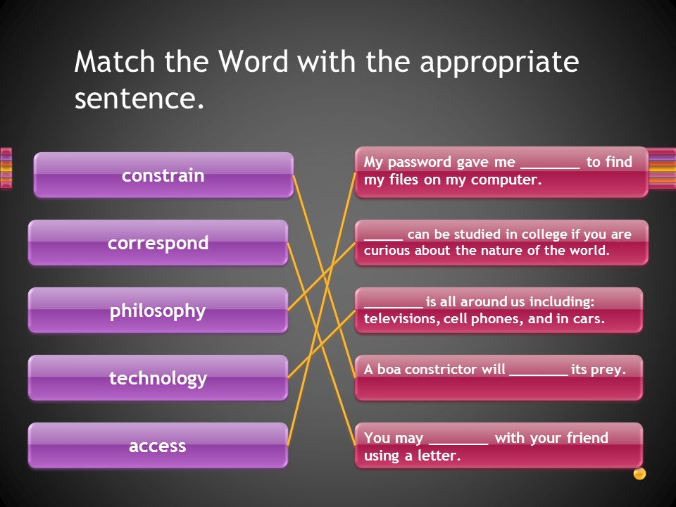 Match the Word with the appropriate sentence.