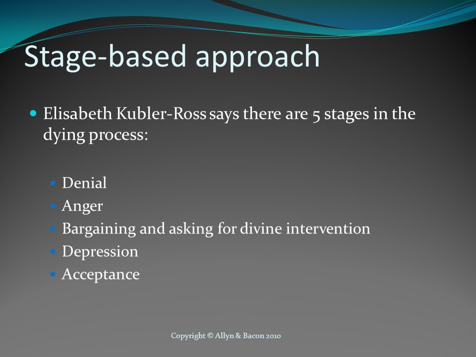 Copyright © Allyn & Bacon 2010 Stage-based approach Elisabeth Kubler-Ross says there are 5 stages in the dying process: Denial Anger Bargaining and asking for divine intervention Depression Acceptance