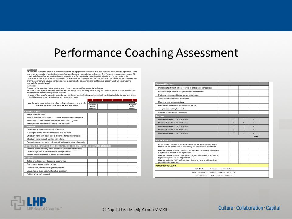 © Baptist Leadership Group MMXIII Performance Coaching Assessment