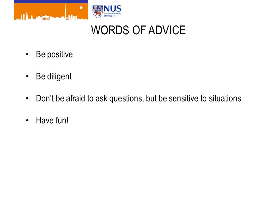 WORDS OF ADVICE Be positive Be diligent Don't be afraid to ask questions, but be sensitive to situations Have fun!