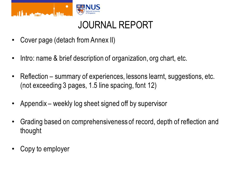 JOURNAL REPORT Cover page (detach from Annex II) Intro: name & brief description of organization, org chart, etc. Reflection – summary of experiences,