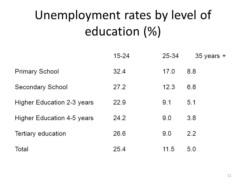 Unemployment rates by level of education (%) 15-2425-34 35 years + Primary School32.417.08.8 Secondary School27.212.36.8 Higher Education 2-3 years 22.99.15.1 Higher Education 4-5 years24.29.03.8 Tertiary education 26.69.02.2 Total25.411.55.0 11