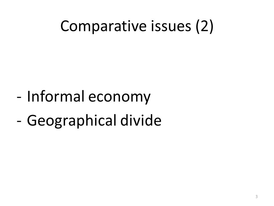 Comparative issues (2) -Informal economy -Geographical divide 3