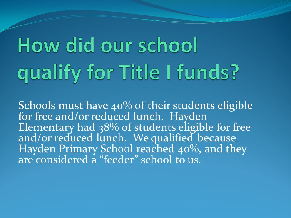 Each school receiving Title I funding must have a Continuous Improvement Plan with parents serving on the planning committee.