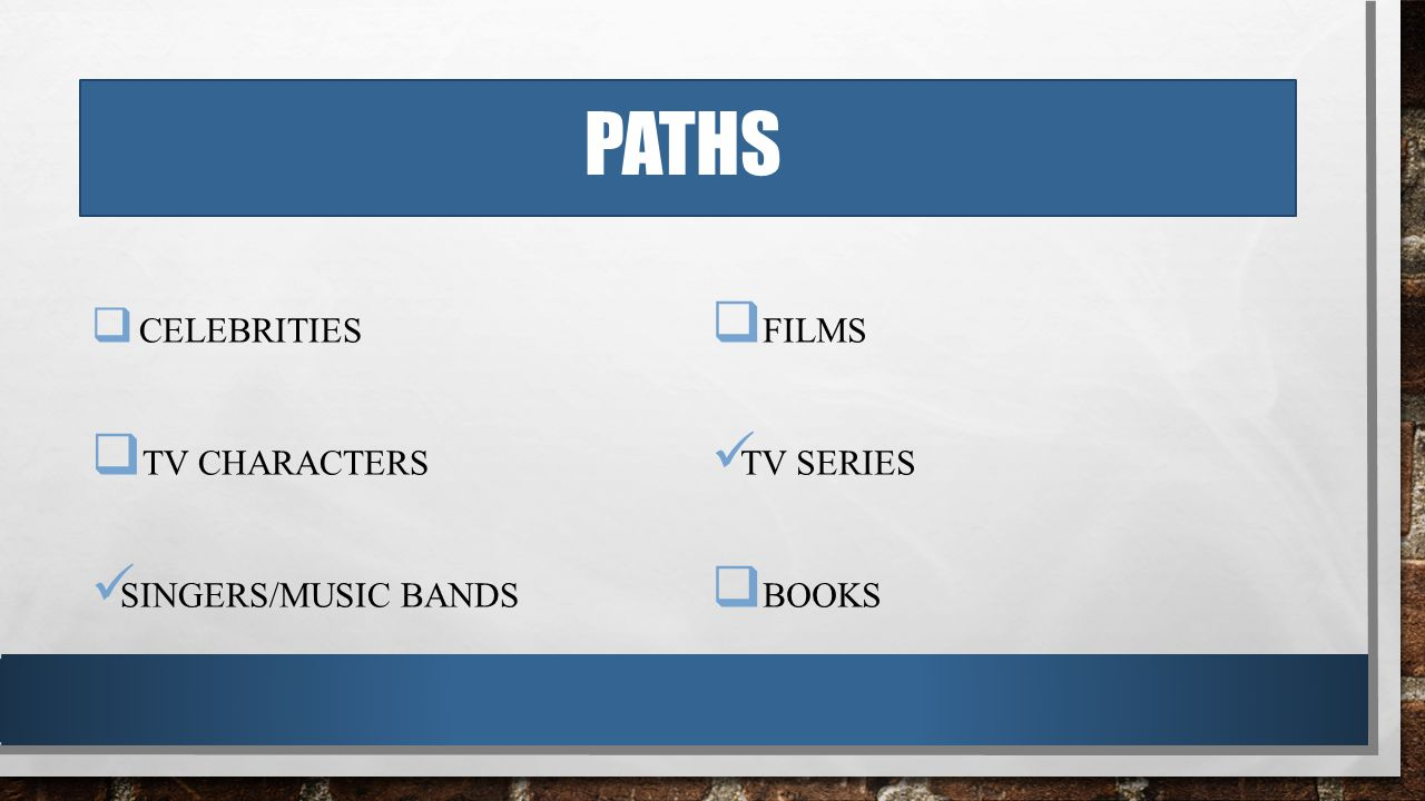 PATHS  CELEBRITIES  TV CHARACTERS SINGERS/MUSIC BANDS  FILMS TV SERIES  BOOKS