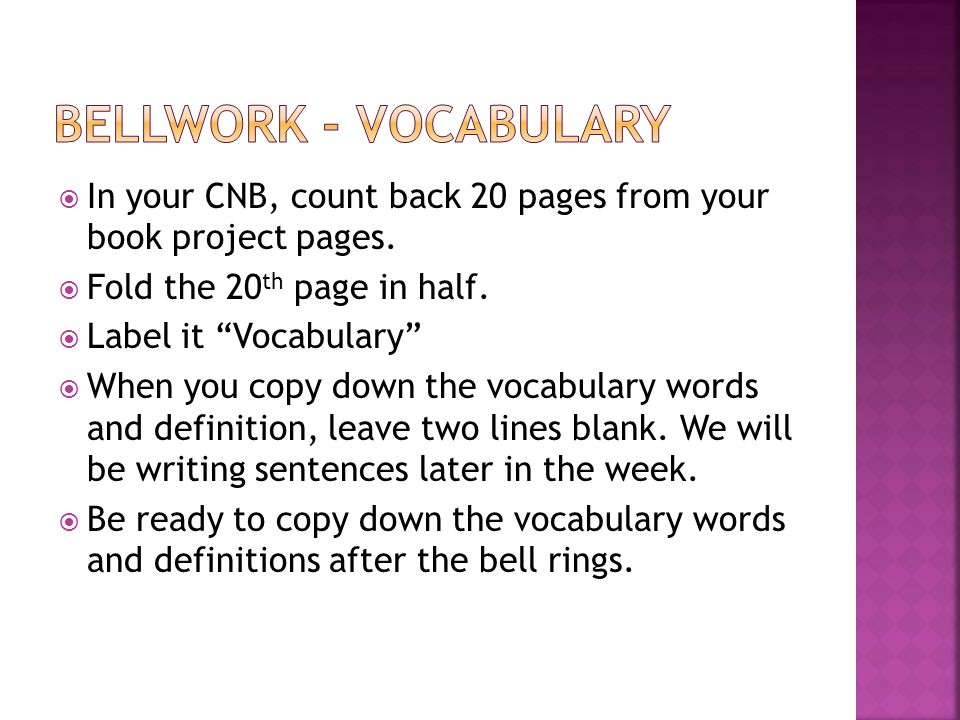  In your CNB, count back 20 pages from your book project pages.