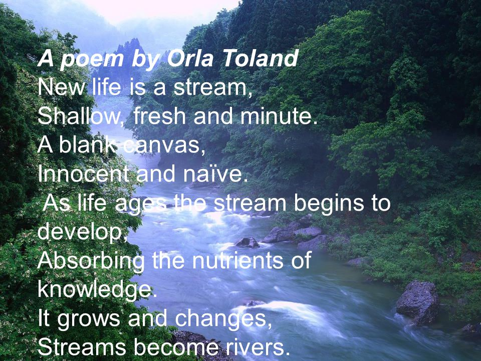 A poem by Orla Toland New life is a stream, Shallow, fresh and minute.