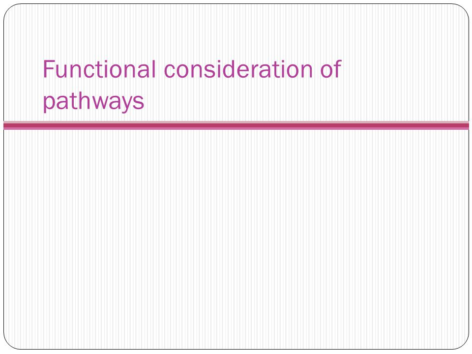 Functional consideration of pathways