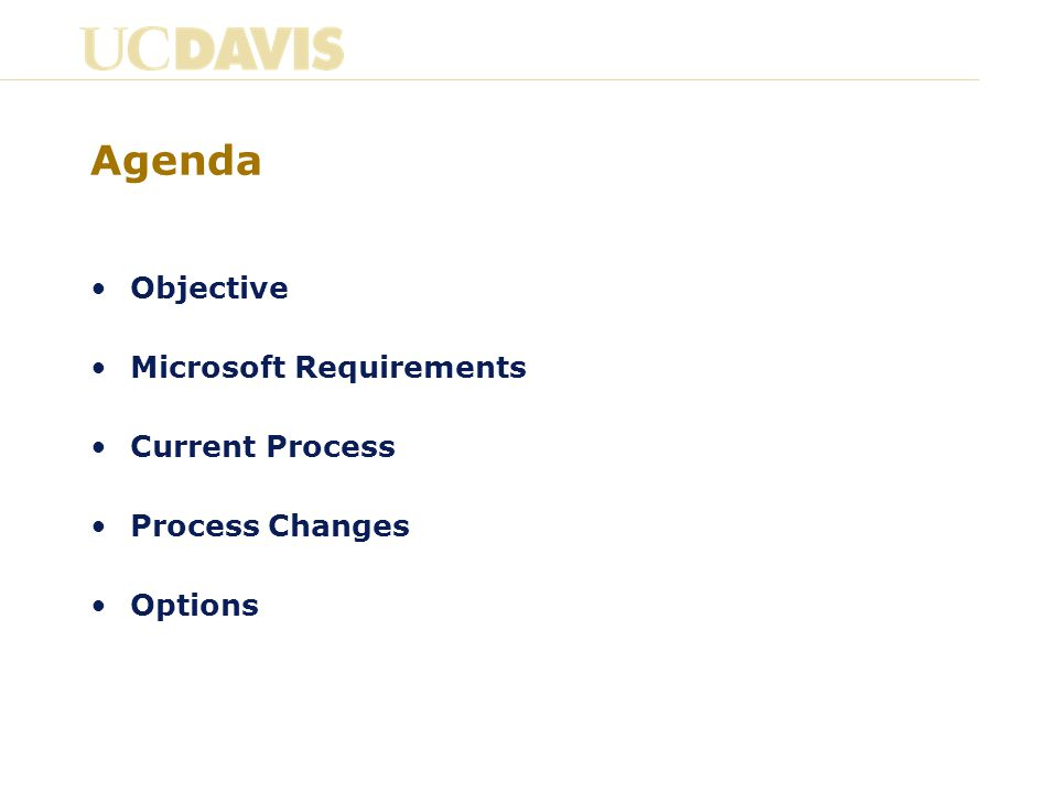 Agenda Objective Microsoft Requirements Current Process Process Changes Options