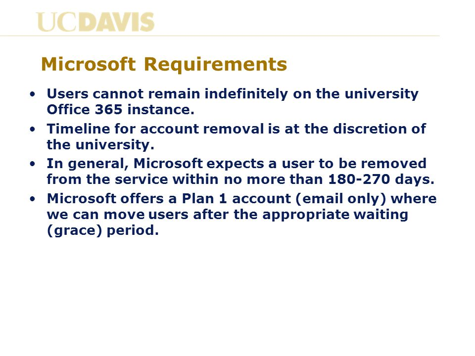 Microsoft Requirements Users cannot remain indefinitely on the university Office 365 instance.
