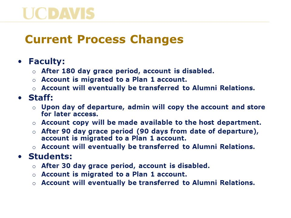 Current Process Changes Faculty: o After 180 day grace period, account is disabled.