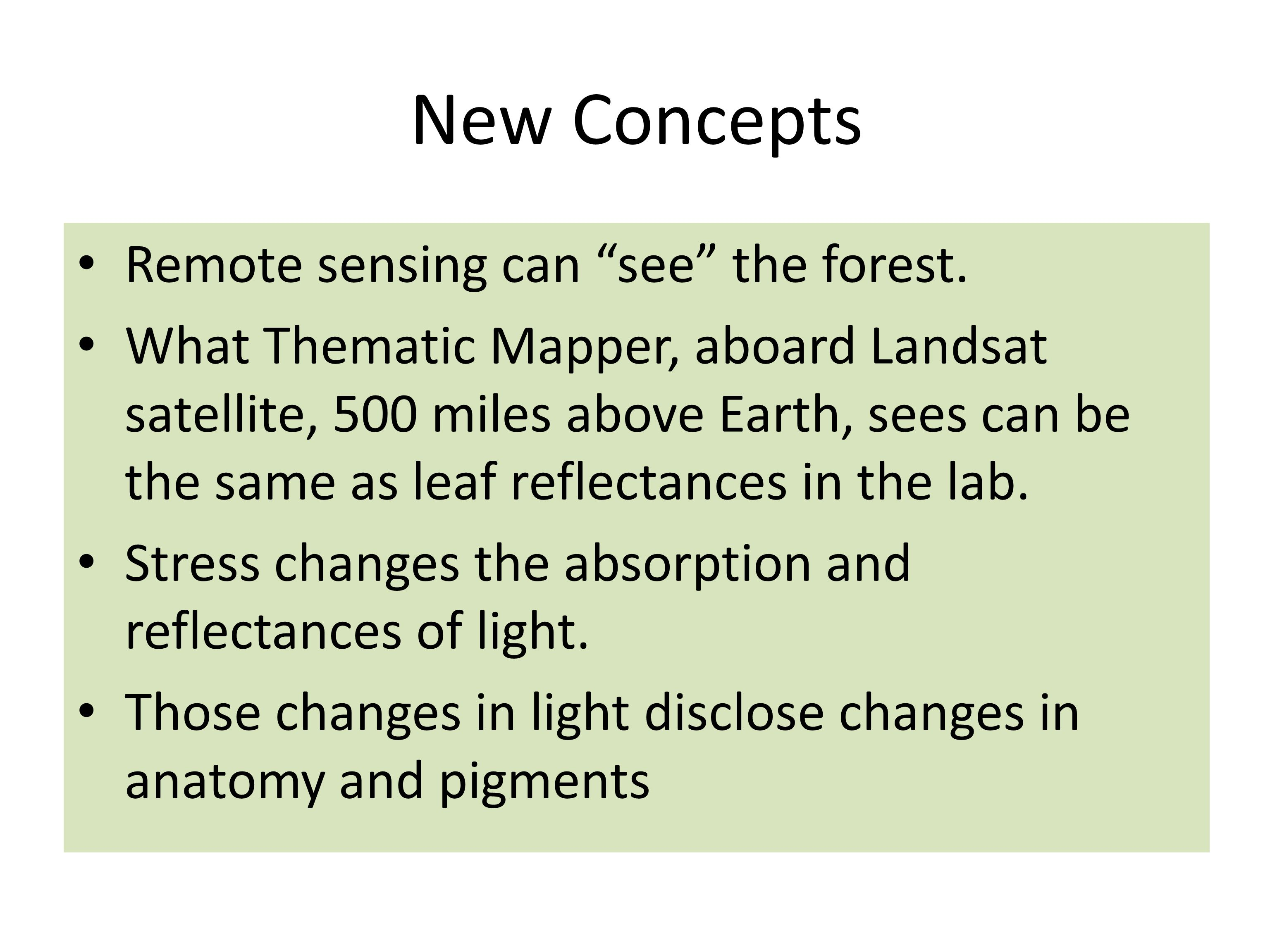 New Concepts Remote sensing can see the forest.
