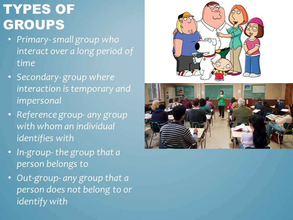 Primary- small group who interact over a long period of time Secondary- group where interaction is temporary and impersonal Reference group- any group