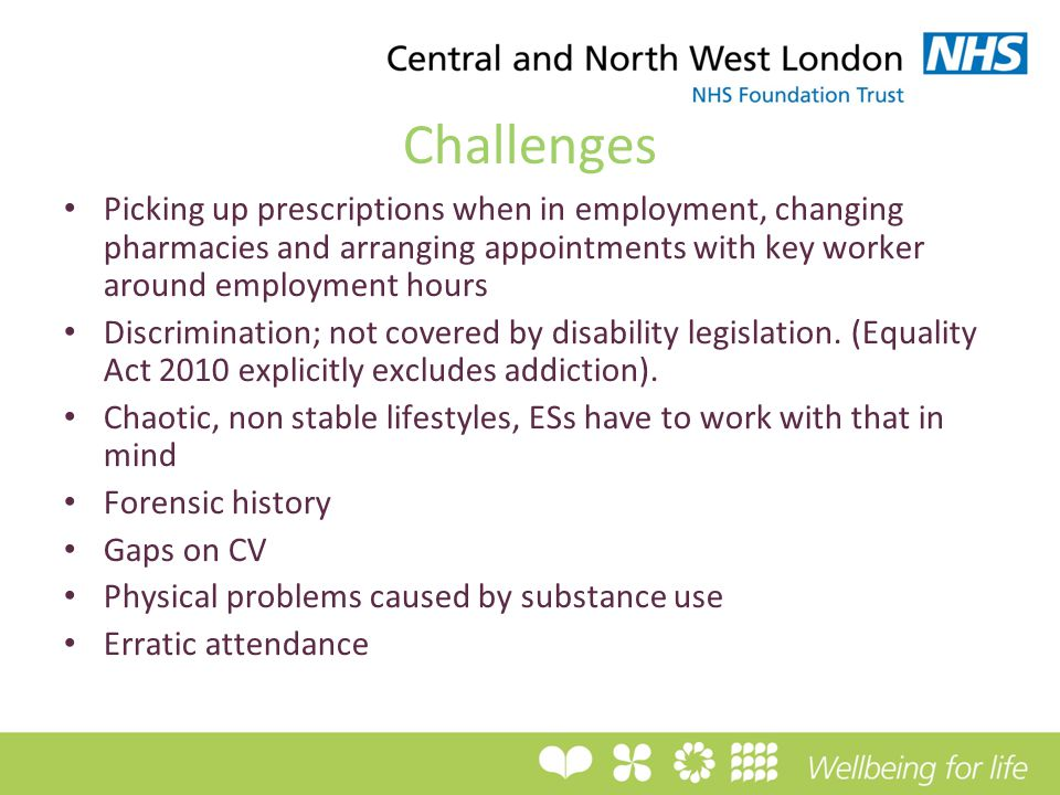 Challenges Picking up prescriptions when in employment, changing pharmacies and arranging appointments with key worker around employment hours Discrimination; not covered by disability legislation.
