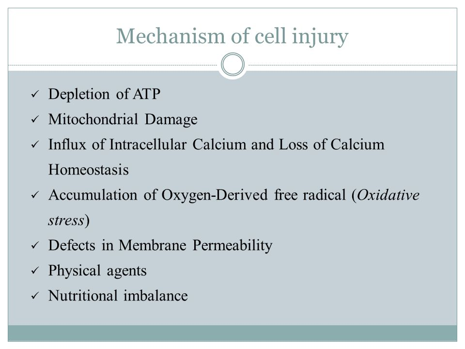 Mechanism of cell injury Depletion of ATP Mitochondrial Damage Influx of Intracellular Calcium and Loss of Calcium Homeostasis Accumulation of Oxygen-Derived free radical (Oxidative stress) Defects in Membrane Permeability Physical agents Nutritional imbalance