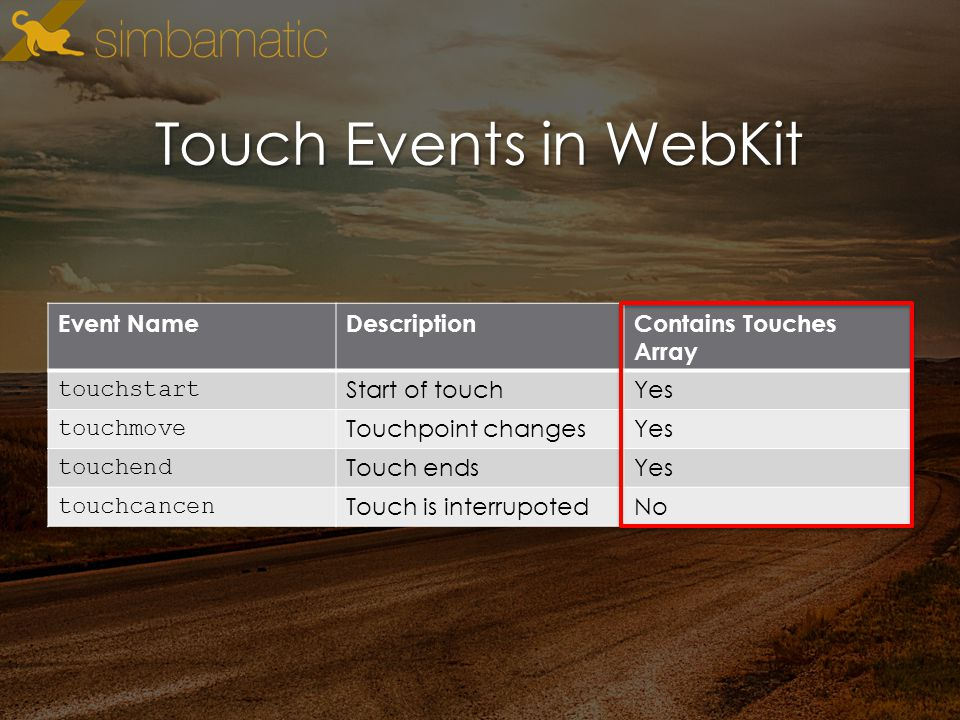 Touch Events in WebKit Event NameDescriptionContains Touches Array touchstart Start of touchYes touchmove Touchpoint changesYes touchend Touch endsYes touchcancen Touch is interrupotedNo