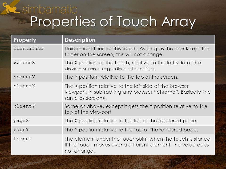 Properties of Touch Array PropertyDescription identifier Unique identifier for this touch.