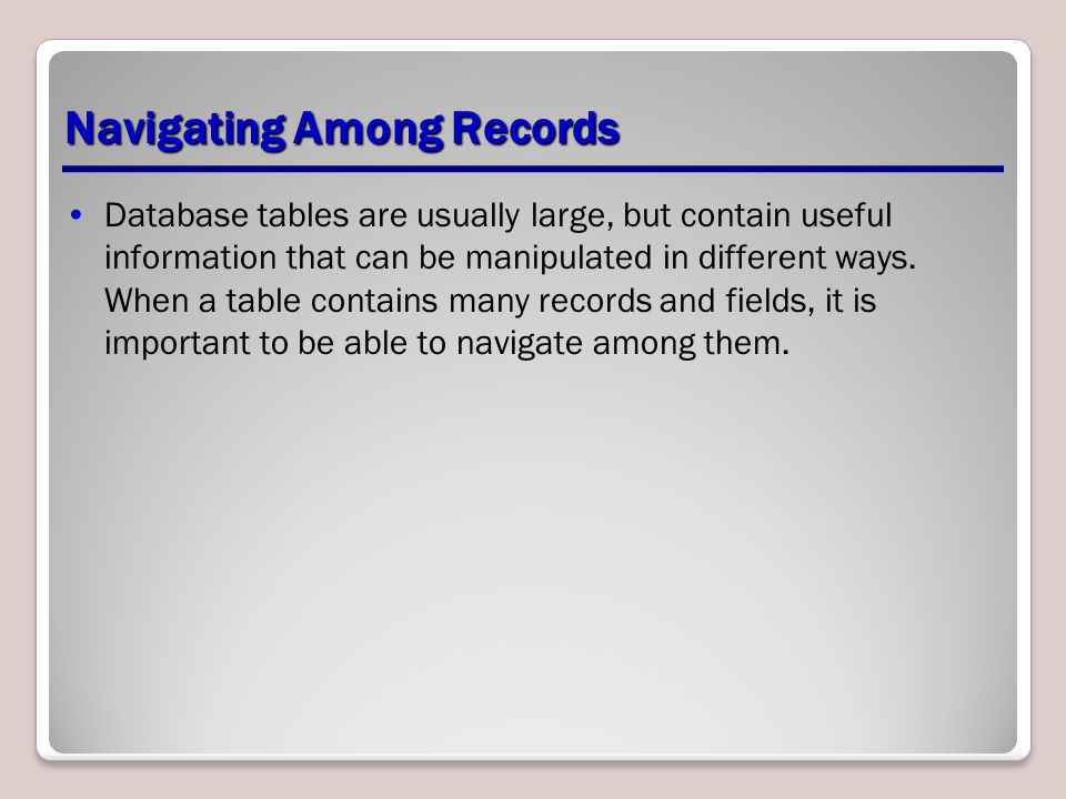 Entering, Editing, and Deleting Records To enter new data, in Datasheet view, position the insertion point in the first empty cell of a record and begin keying the data.