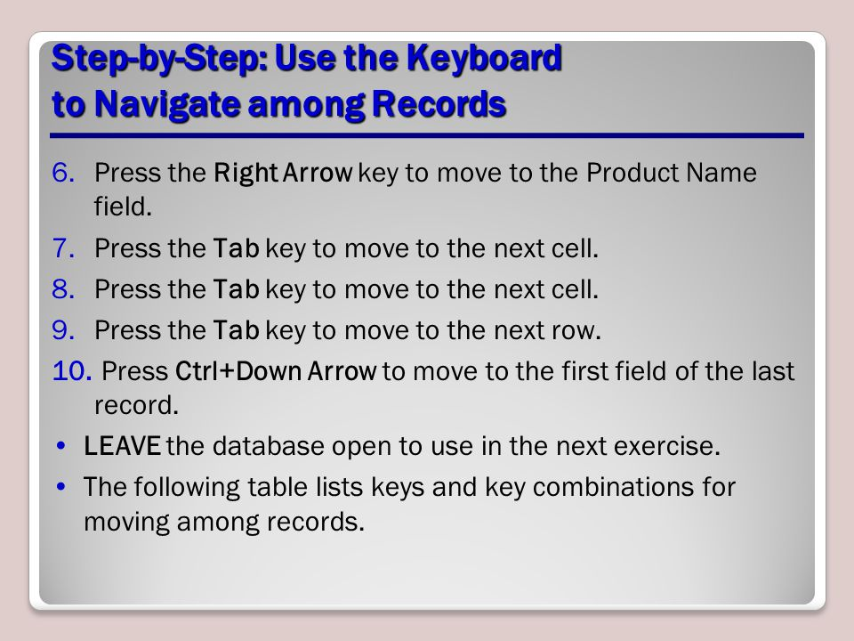 Step-by-Step: Enter, Edit, and Delete Records 2.Key 21905 and press Tab.