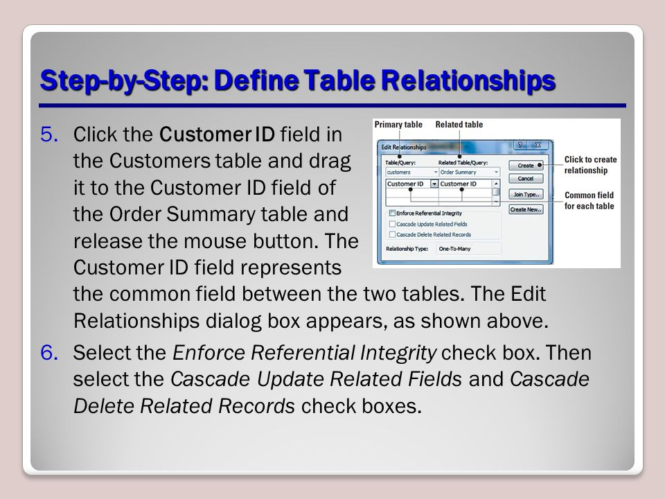 Step-by-Step: Define Table Relationships 5.Click the Customer ID field in the Customers table and drag it to the Customer ID field of the Order Summar