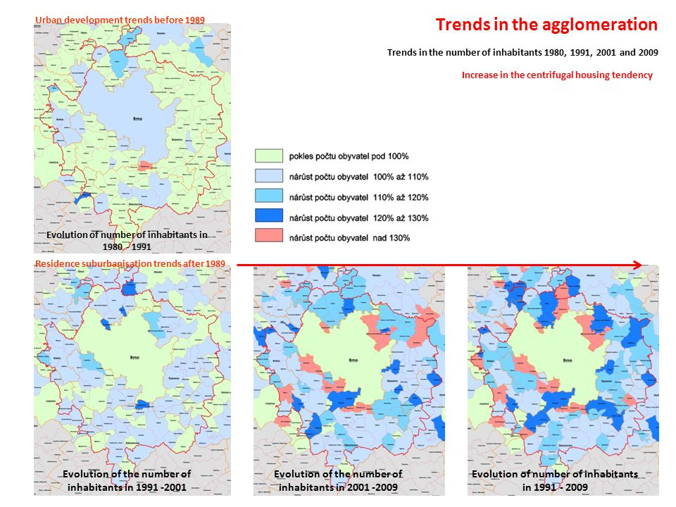 Trends in the agglomeration Trends in the number of inhabitants 1980, 1991, 2001 and 2009 Evolution of number of inhabitants in 1980 - 1991 Evolution