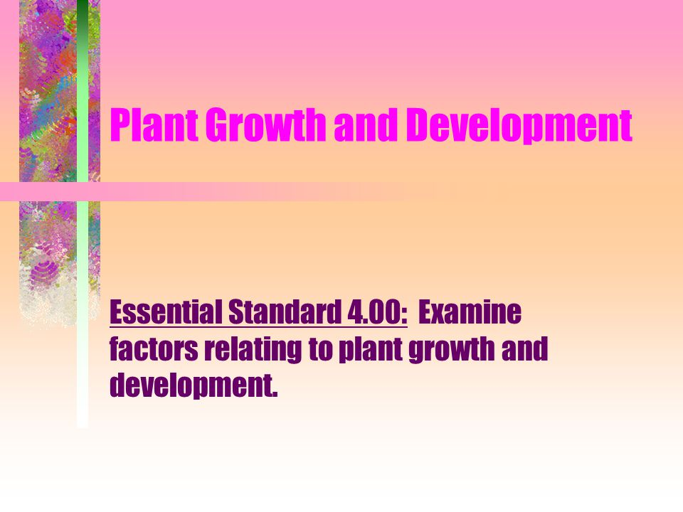 Plant Growth and Development Essential Standard 4.00: Examine factors relating to plant growth and development.