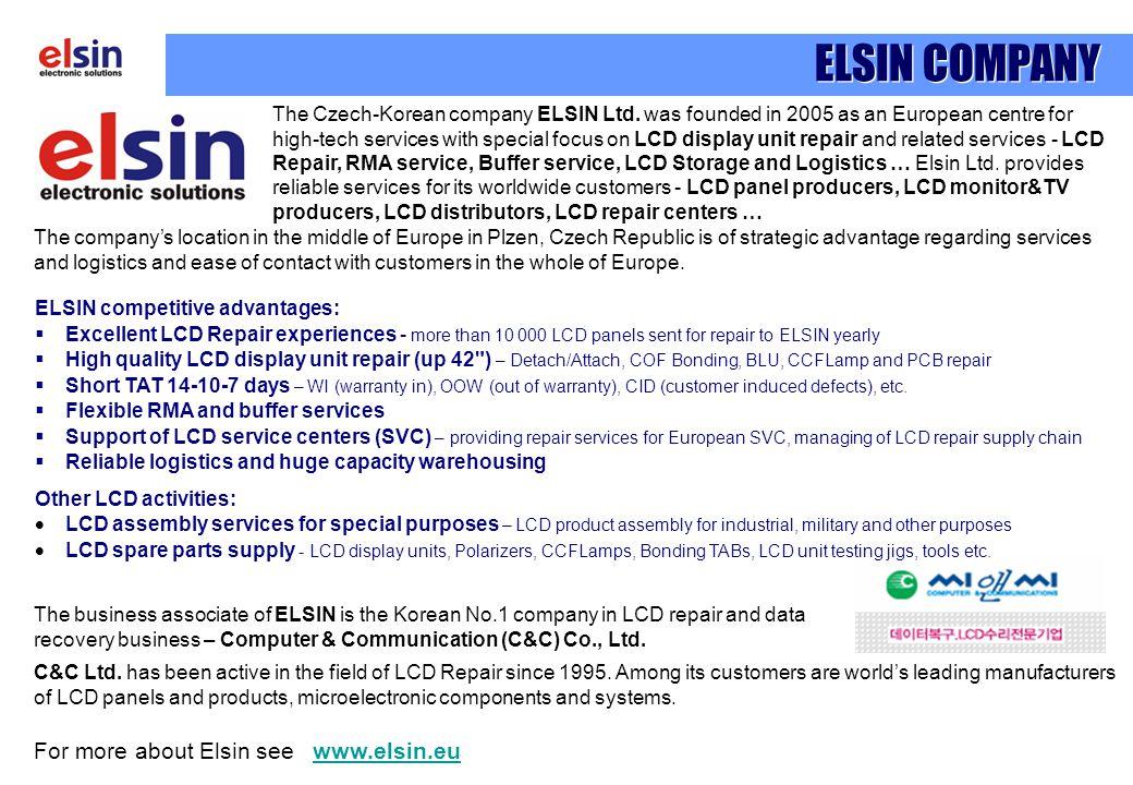 For more about Elsin see www.elsin.euwww.elsin.eu ELSIN COMPANY C&C Ltd.