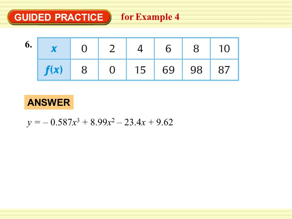 GUIDED PRACTICE for Example 4 6. ANSWER y = – 0.587x 3 + 8.99x 2 – 23.4x + 9.62