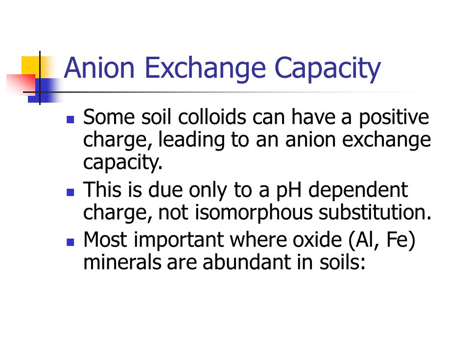 Anion Exchange Capacity Some soil colloids can have a positive charge, leading to an anion exchange capacity. This is due only to a pH dependent charg