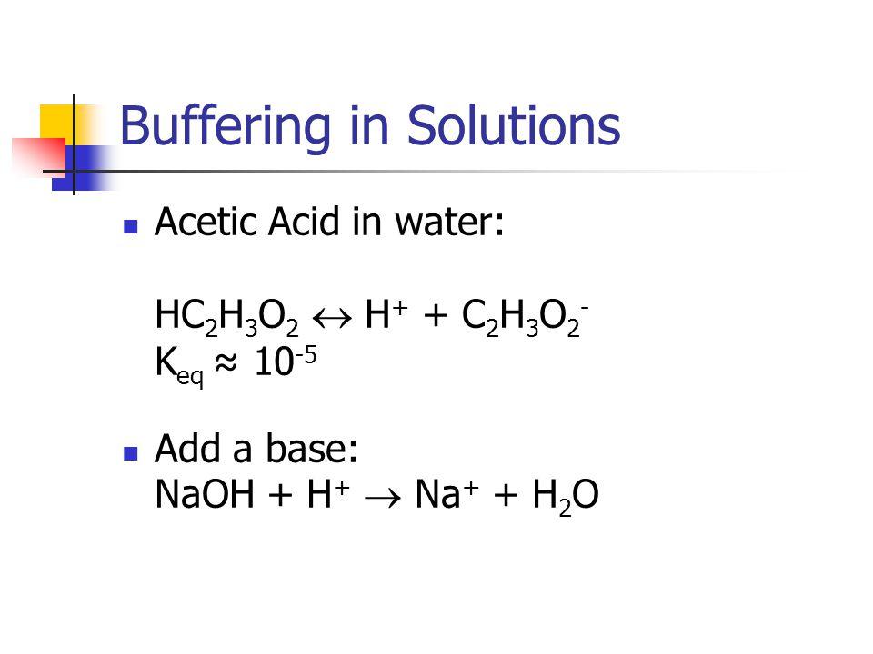 Buffering in Solutions Acetic Acid in water: HC 2 H 3 O 2  H + + C 2 H 3 O 2 - K eq ≈ 10 -5 Add a base: NaOH + H +  Na + + H 2 O