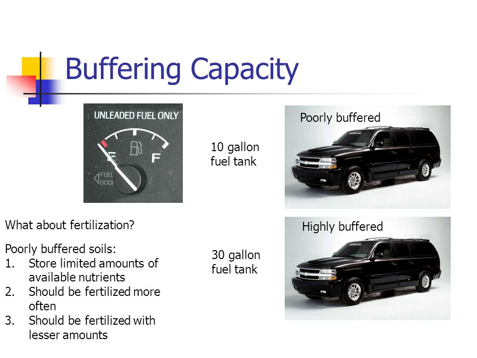 Buffering Capacity 10 gallon fuel tank 30 gallon fuel tank Highly buffered What about fertilization? Poorly buffered soils: 1.Store limited amounts of