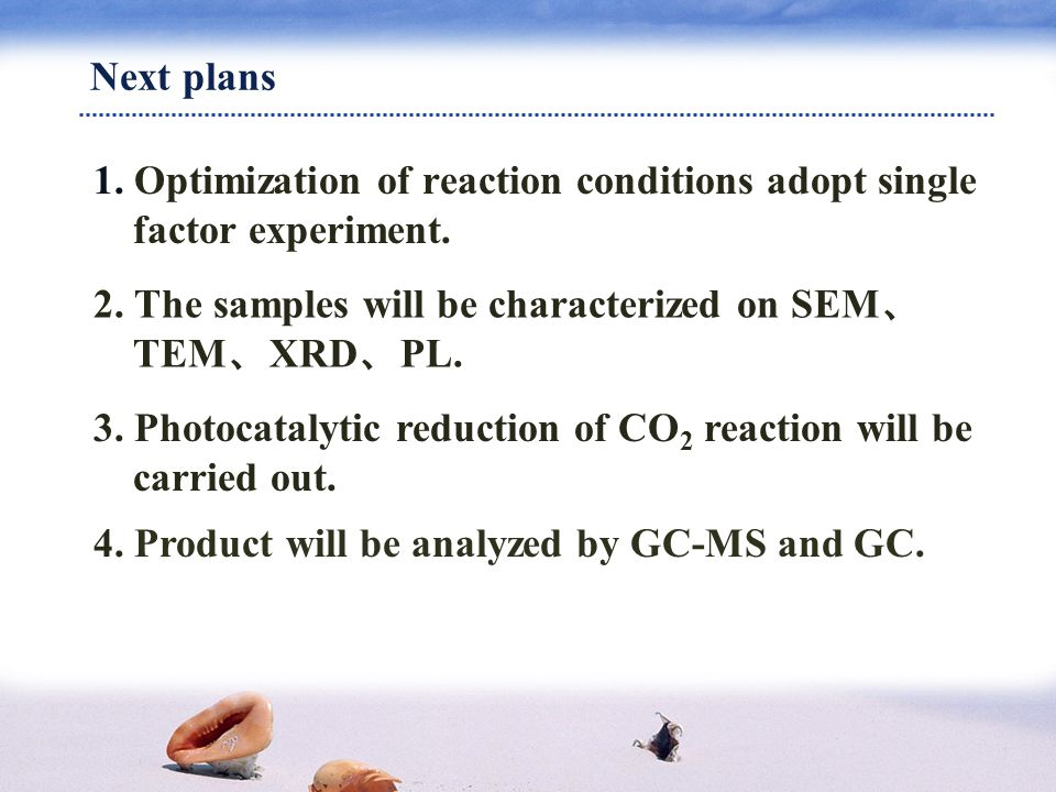 Next plans 1. Optimization of reaction conditions adopt single factor experiment.