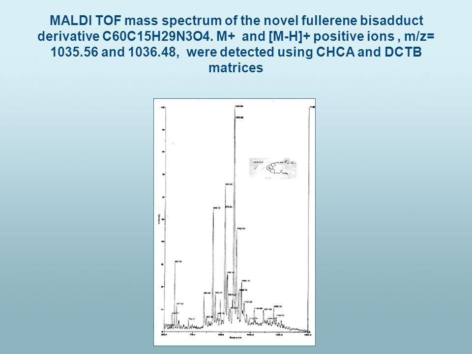 MALDI TOF mass spectrum of the novel fullerene bisadduct derivative C60C15H29N3O4.