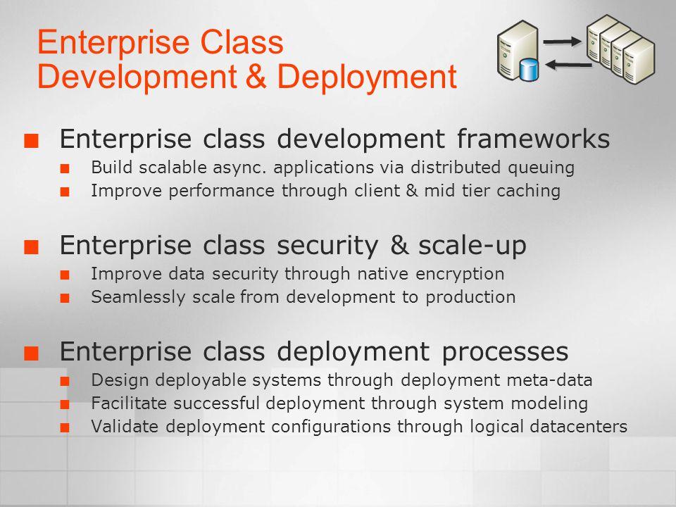 Enterprise Class Development & Deployment Enterprise class development frameworks Build scalable async.